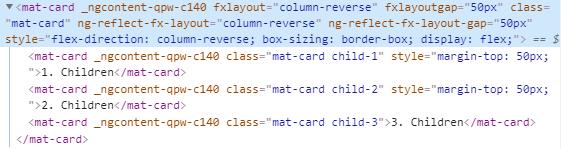 fxLayoutGap column reverse CSS