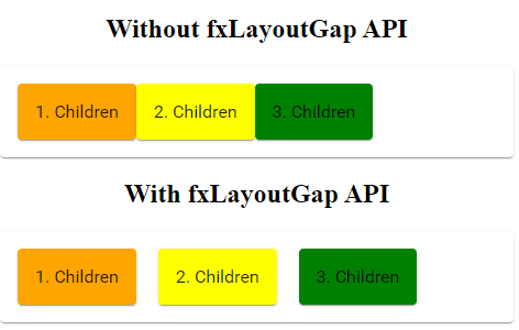 fxLayoutGap example