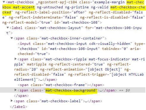 mat-checkbox ouput html