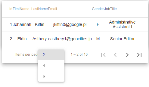 mat table pagination example